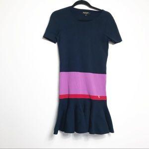 Juicy Couture Navy Color Block Flounce Hem Dress S